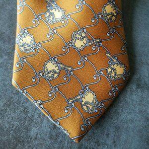 Sulka 100% Silk Mens NeckTie Orange/Gold color